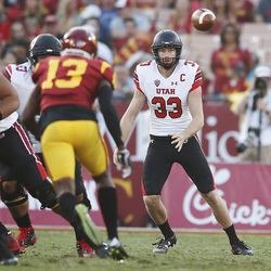 Utah Utes punter Mitch Wishnowsky (33) takes a snap to punt against the USC Trojans in Los Angeles on Saturday, Oct. 14, 2017. USC won 28-27.