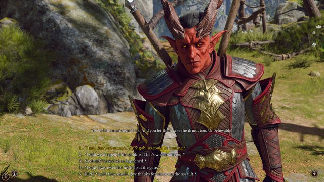 dialogue options in a conversation with a horned red-skinned elf in Baldur's Gate 3