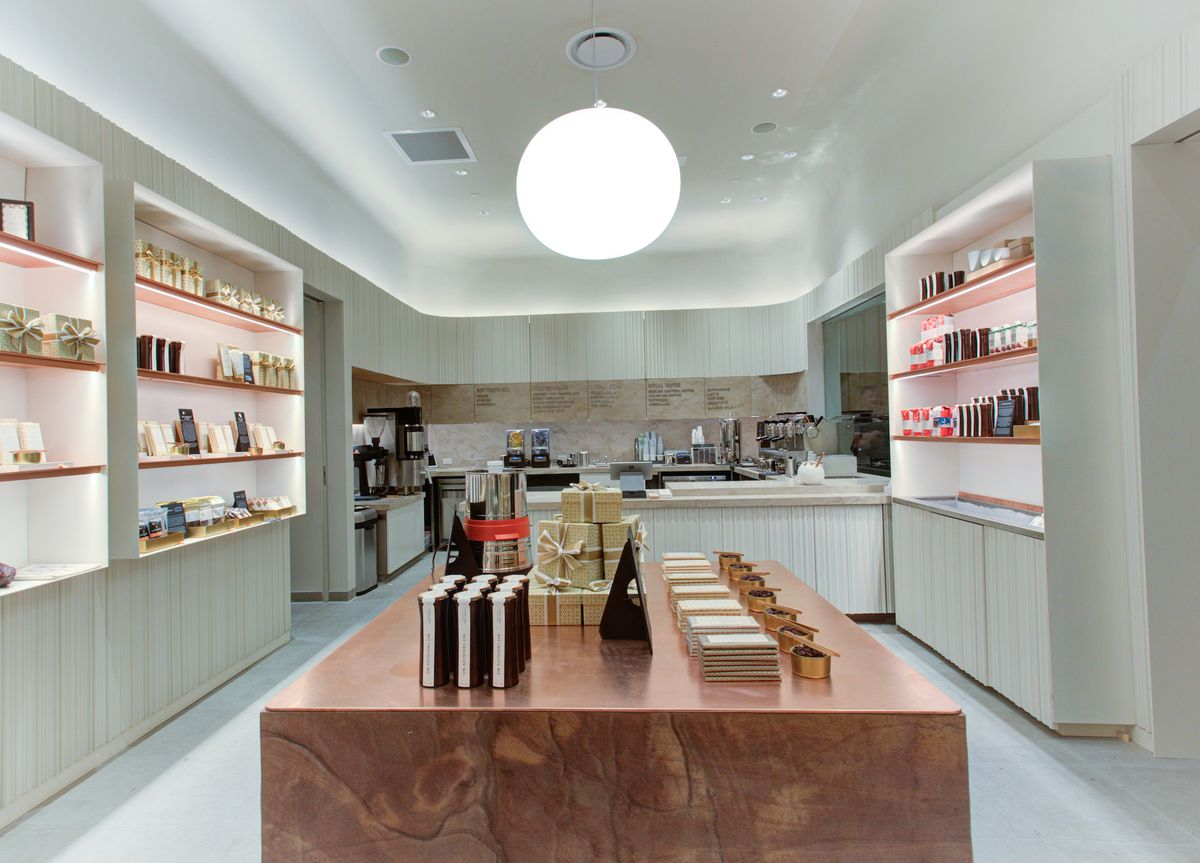 The interior of a chocolate cafe