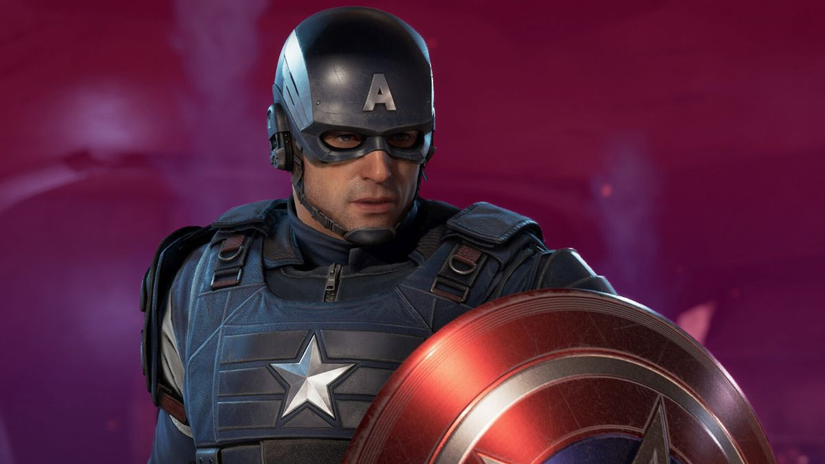 Image of Captain America holding his shield on a deep magenta/purple background
