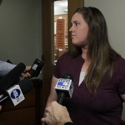 Jennifer Graves, the estranged sister of Josh Powell, who is the husband of missing Utah woman Susan Powell, talks to reporters during a break in a court hearing regarding the custody of Josh Powell's two sons, Wednesday, Sept. 28, 2011, in Tacoma, Wash.