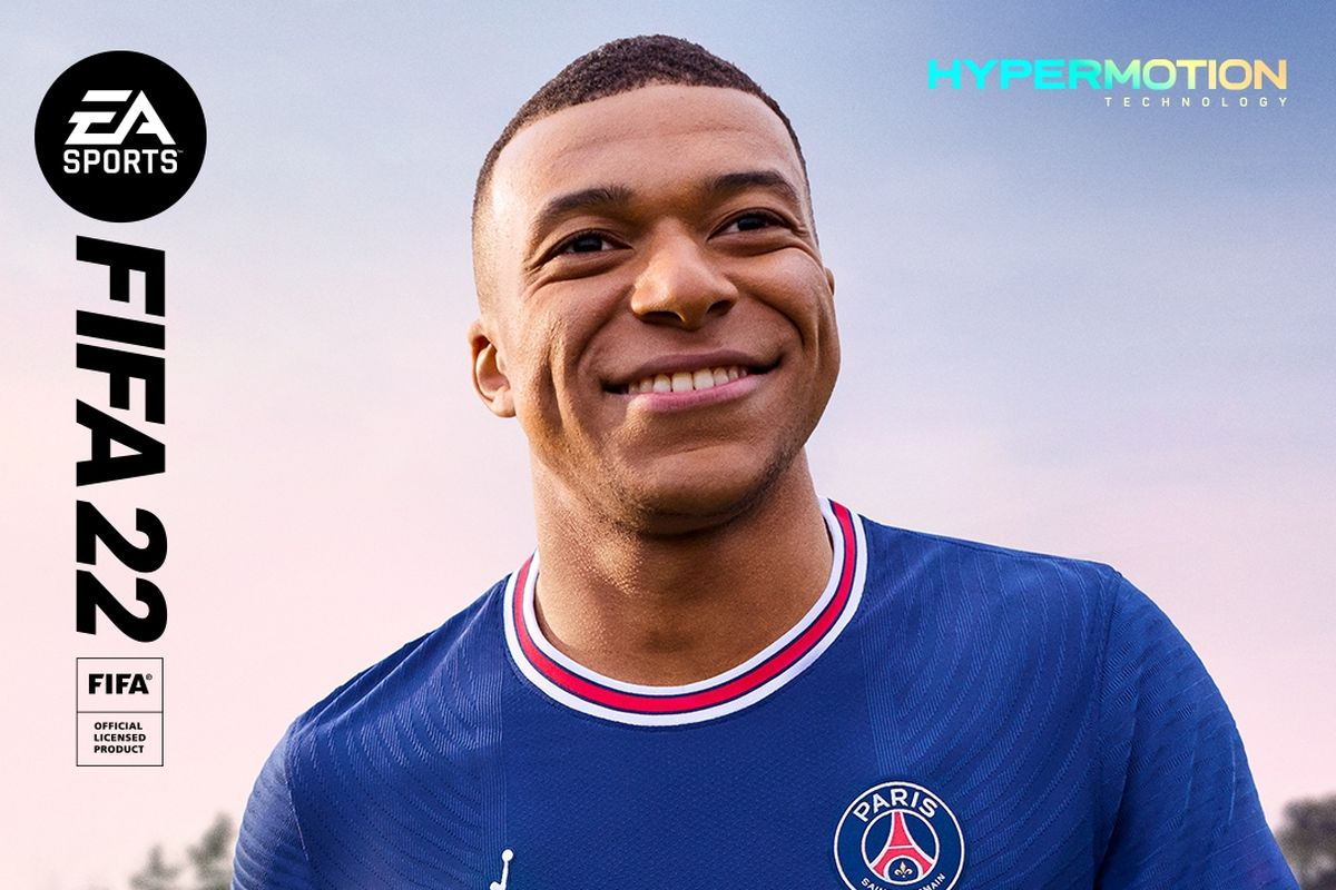Killian Mbappe, the cover athlete for FIFA 22.