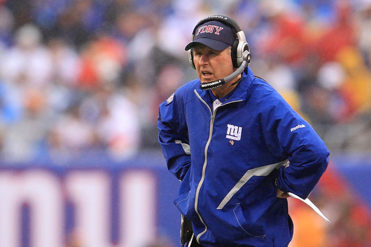 New York Giants coach <strong>Tom Coughlin </strong>during Sunday's game against Carolina.  (Photo by Chris McGrath/Getty Images)