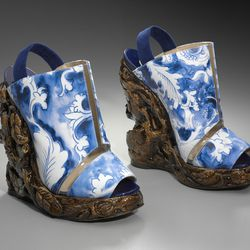 Pair of woman's shoes, 2011; Rodarte. Museum purchase with funds donated by the Fashion Council, Muse. Reproduced with permission. Photograph © Museum of Fine Arts, Boston