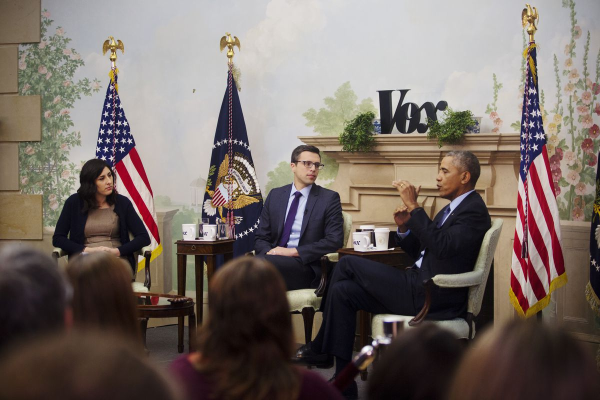 President Obama being interviewed by Vox's Ezra Klein and Sarah Kliff on January 6, 2017.
