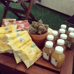 Healthy munchies from IPS and fresh thirst-quenchers from Pressed Juicery awaited us.