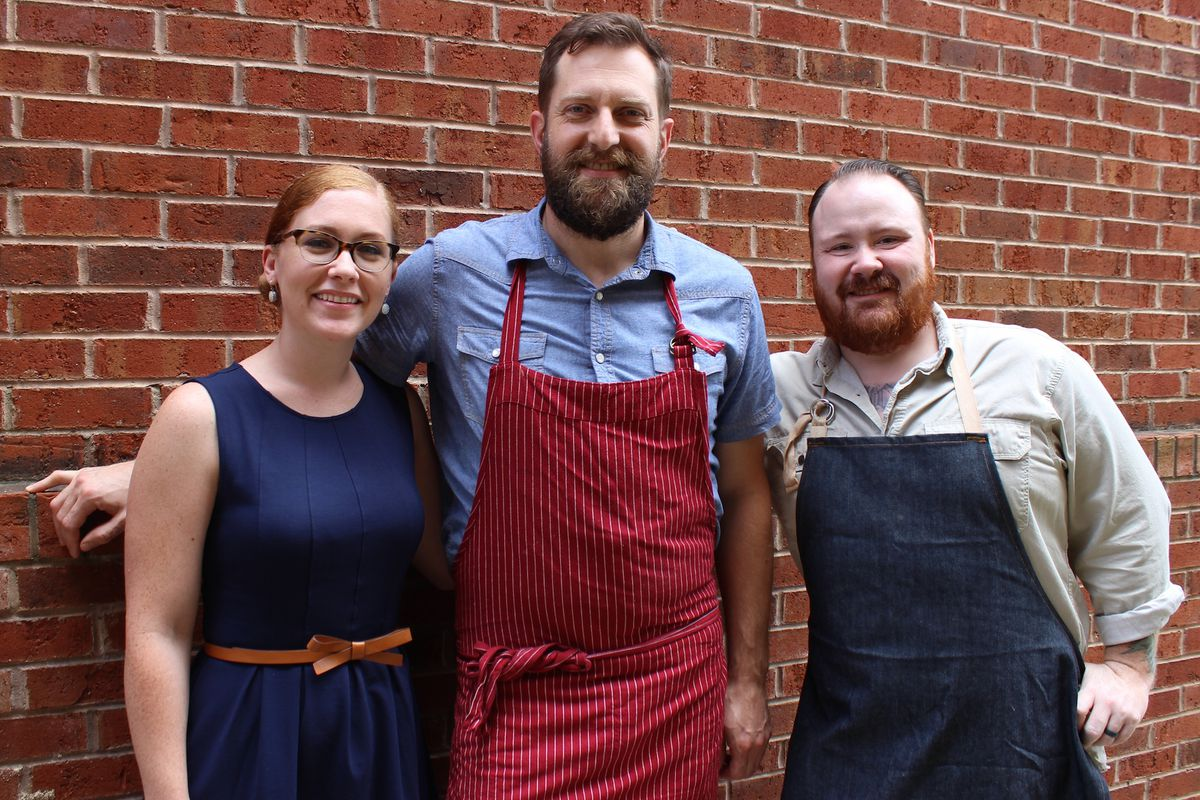 From left: Revival GM Christy Lee Faircloth, executive chef Andreas Müller, and owner Kevin Gillespie.
