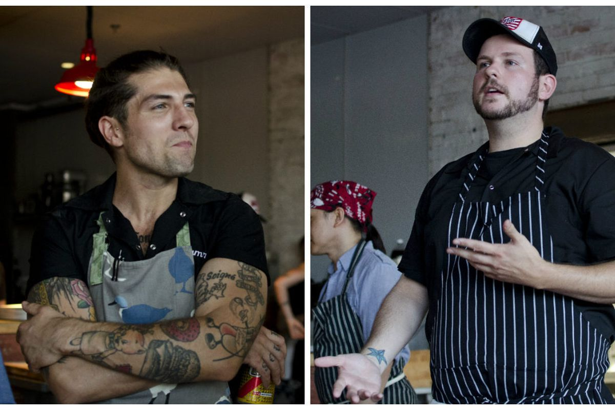 """<span class=""""credit"""">Sam Monsour (left) and Mark O'Leary, plus scenes and dishes from their last big The Future of Junk Food event in Boston (for now), which took place at La Brasa in early August. [Photos: <a href=""""http://rachelblumenthal.net"""">Rach"""