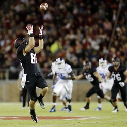 Stanford tight end Zach Ertz makes a 43-yard reception against Duke during the first half of an NCAA college football game in Stanford, Calif., Saturday, Sept. 8, 2012.