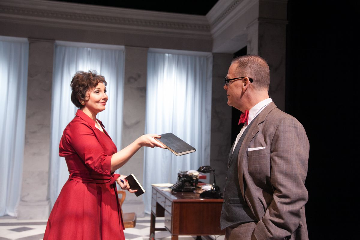 """Kymberly Mellen plays Susan Mary Alsop, who is married to Joseph Alsop (Philip Earl Johnson), in the American Blues Theater production of David Auburn's play, """"The Columnist."""" (Photo: Johnny Knight)"""