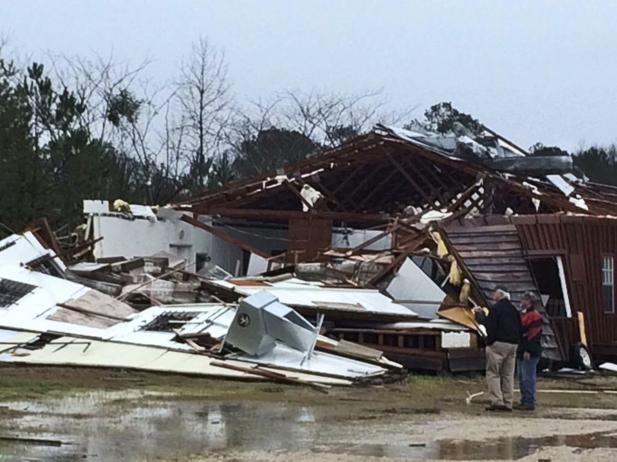 A business off Mississippi Highway 18 in Sylverana was damaged after severe storms passed through the area.   Ryan Moore/WDAM-TV, via AP
