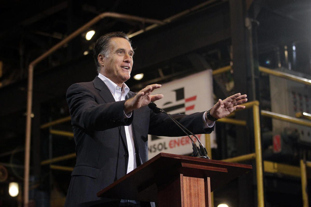 Republican presidential candidate, former Massachusetts Gov. Mitt Romney gestures during his campaign rally at Consol Energy Research and Development Facility in South Park Township, Pa., Monday, April 23, 2012.