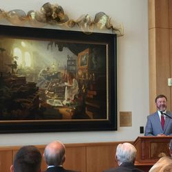 """Artist Greg Olsen talks about his painting, """"Treasures of Knowledge,"""" Wednesday at the Hinckley Center on BYU campus."""