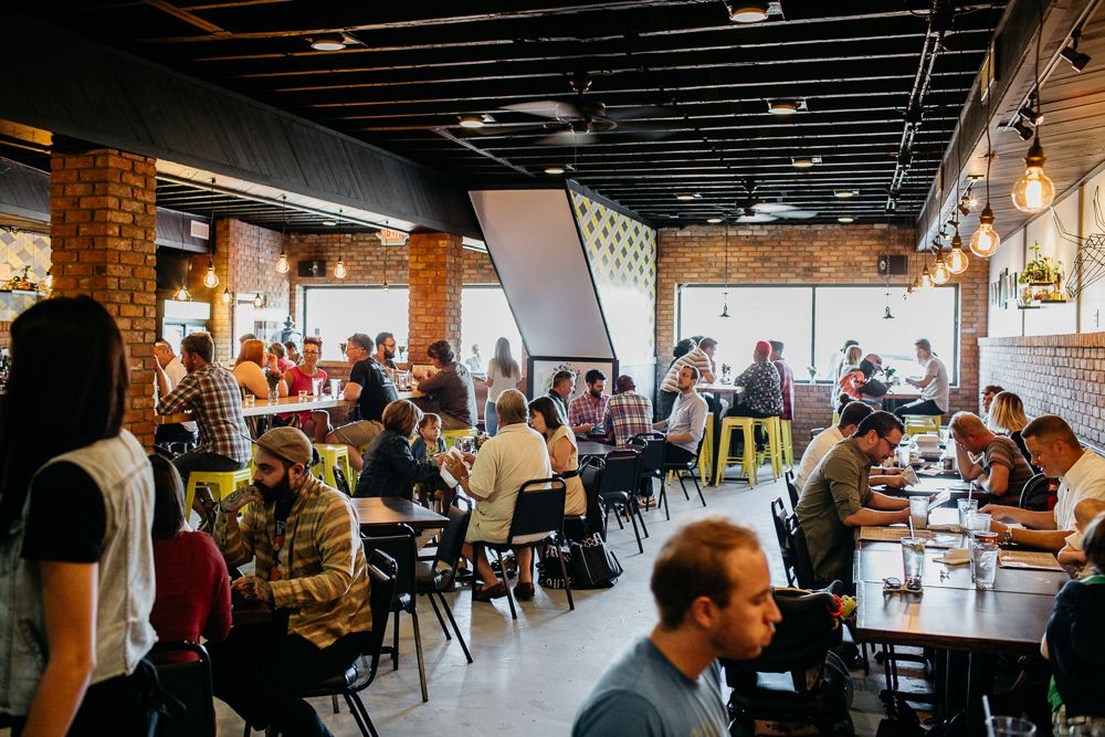 Customers fill the dining room at Bobcat Bonnie's in Corktown.