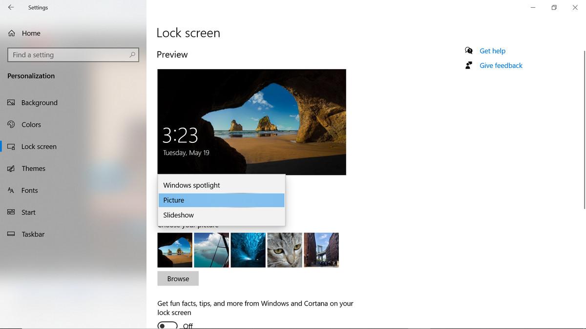 Lock screen dropdown menu
