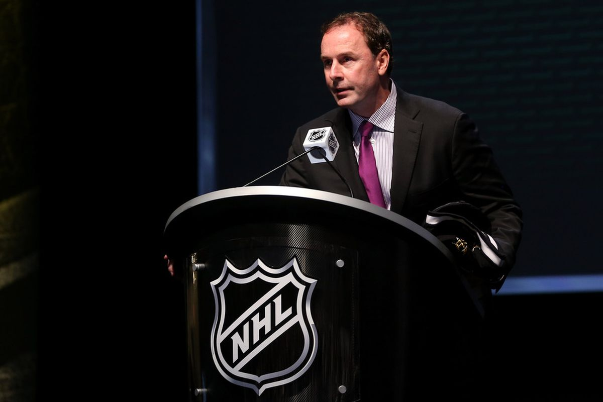 PITTSBURGH, PA - JUNE 22: Dallas Stars general manager Joe Nieuwendyk speaks during Round One of the 2012 NHL Entry Draft at Consol Energy Center on June 22, 2012 in Pittsburgh, Pennsylvania.  (Photo by Bruce Bennett/Getty Images)