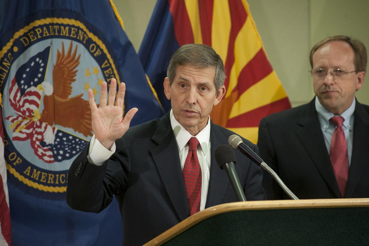 Acting VA Secretary Sloan Gibson visits the Phoenix VA facility.