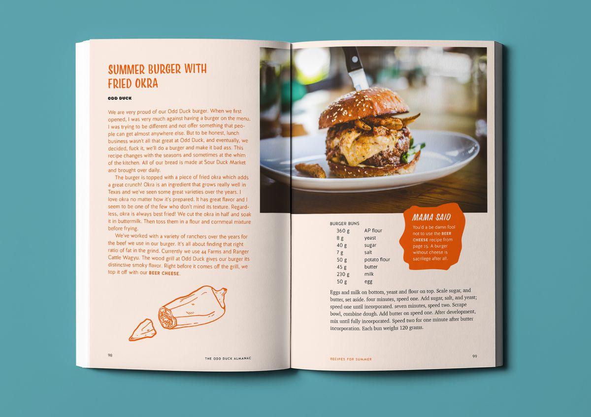 A burger recipe in Odd Duck Almanac