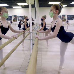 Pearl Jones practices ballet at Bountiful School of Ballet in Woods Cross on Thursday, Sept. 17, 2020.