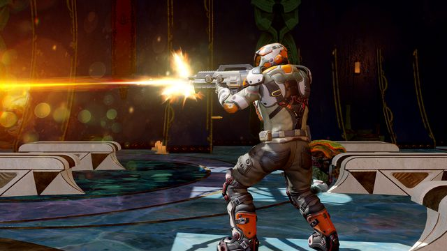 A soldier takes aim and fires in Phoenix Point.