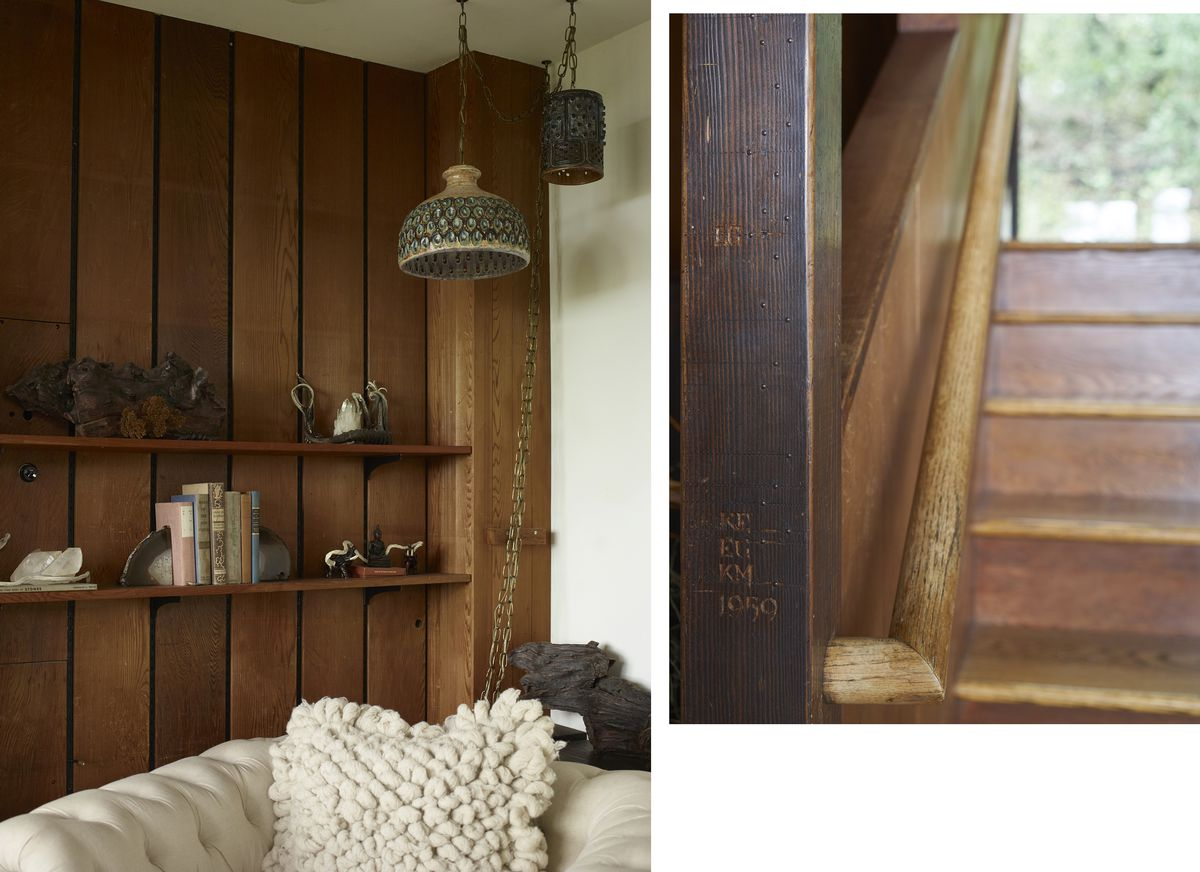 An exterior shot shows that the house is slim, only about a room wide on both levels; architect John Kolbeck carved his kids' ages and heights in the newel post in 1959, the carving is done in a nice font; the homeowner decorates shelves with natural mate