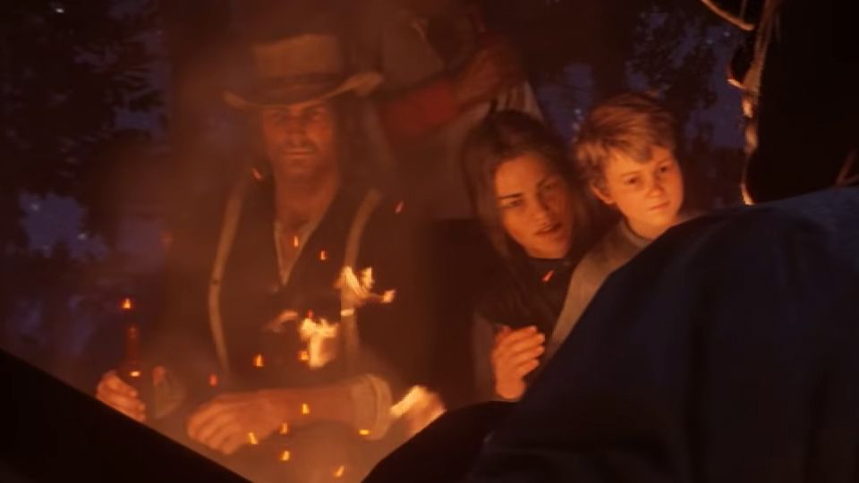Red Dead Redemption 2 - close-up of John Marston, Abigail Marston and Jack Marston
