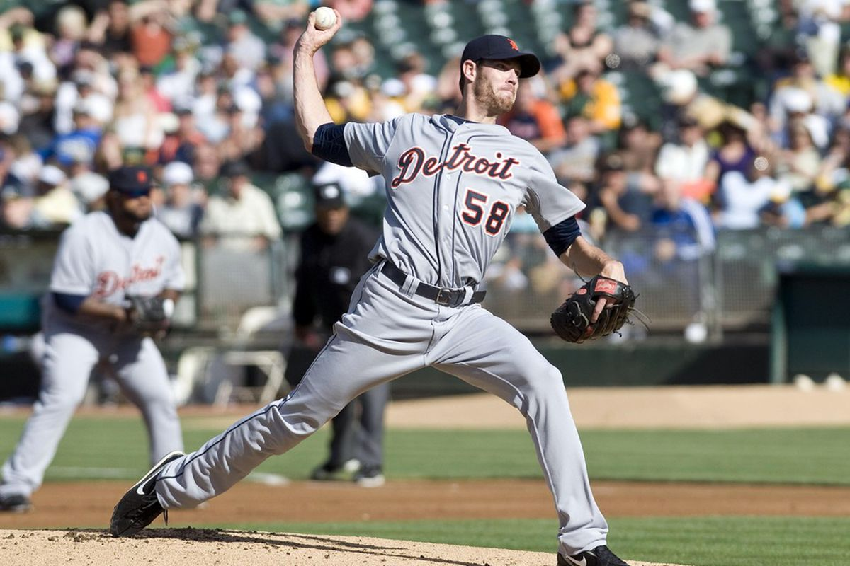 May 12, 2012; Oakland, CA, USA; Detroit Tigers starting pitcher Doug Fister (58) pitches during the first inning against the Oakland Athletics at O.co Coliseum.  Mandatory Credit: Ed Szczepanski-US PRESSWIRE