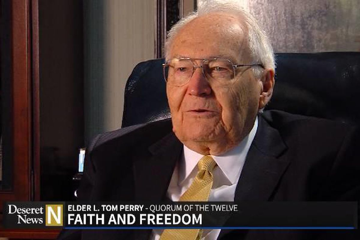 """Elder L. Tom Perry of the Quorum of the Twelve Apostles discusses his memories of his service in WWII during this week's """"Deseret News National Edition"""""""