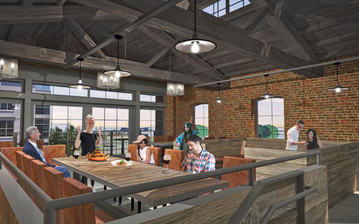 A rendering of the inside of the Mill at 10 Duke