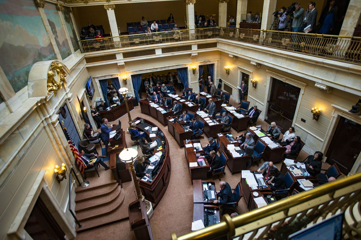 Members of the Utah Senate debate a plan to replace the voter-approved full Medicaid expansion at the Capitol in Salt Lake City on Monday, Feb. 4, 2019.