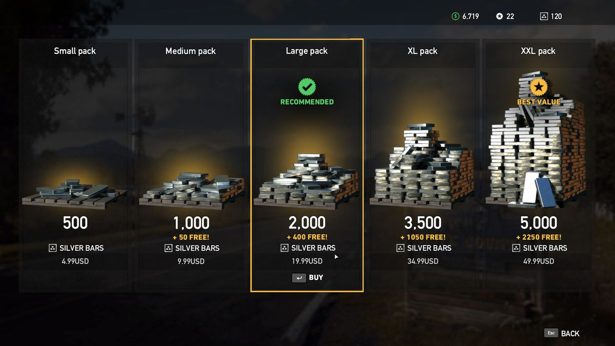 Buying silver bars in the Far Cry 5 shop