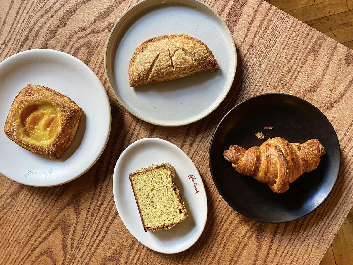 Pastries by Zoe Kanan at Studio, on Anfora, Hasami, and Heath plates
