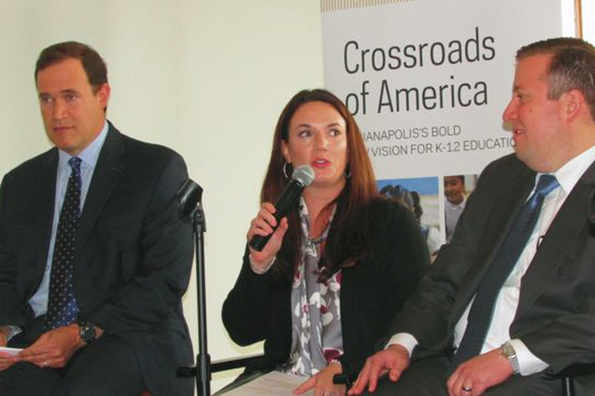 Mind Trust CEO David Harris, IPS curriculum officer Tammy Bowman and Deputy Mayor Jason Kloth discuss public, charter and private school cooperation at a panel sponsored by the University of Notre Dame's Alliance for Catholic Education.