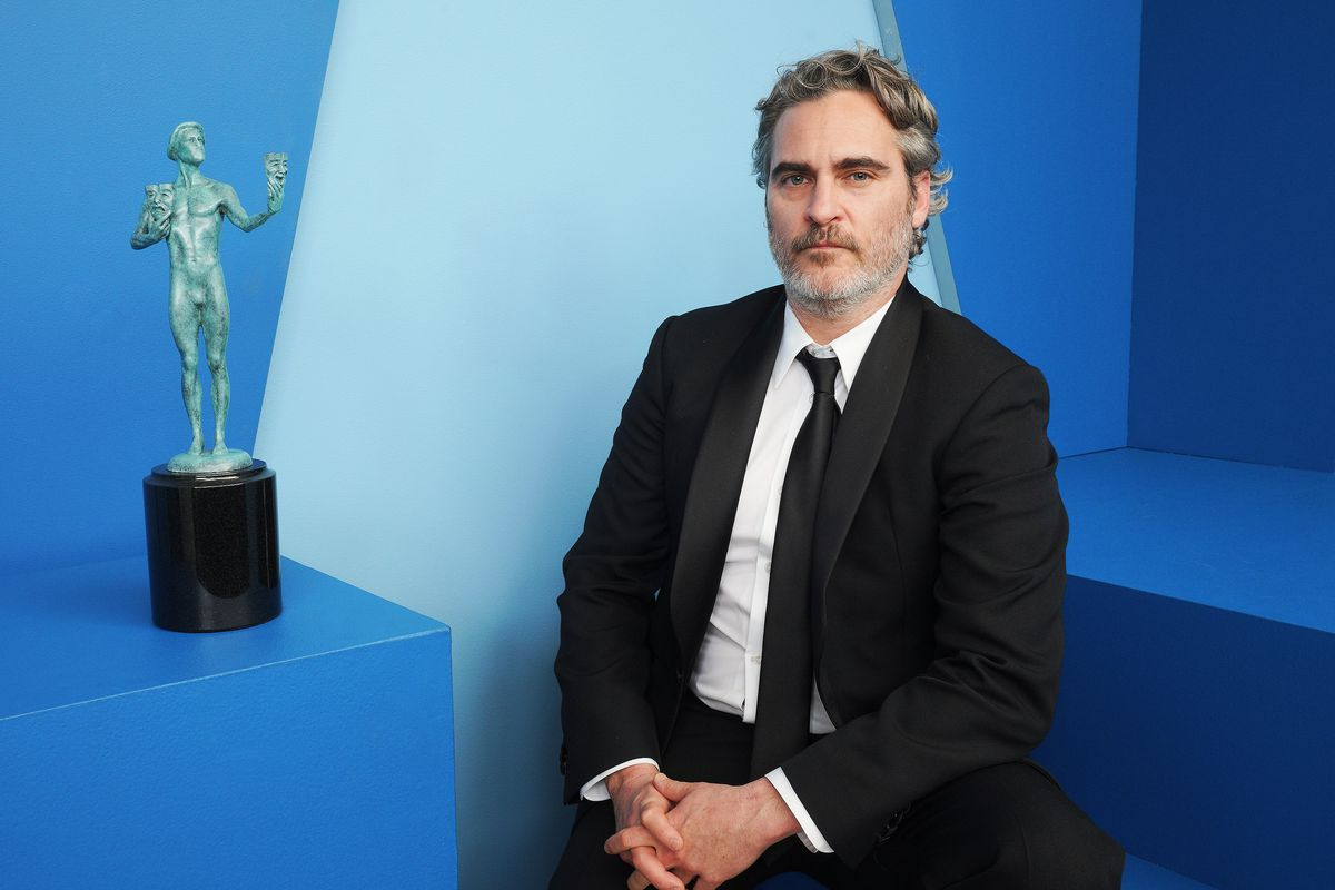 Joaquin Phoenix poses in the Winners' Gallery during the 2020 Screen ActorsGuild Awards.