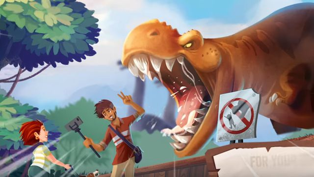 A T. rex growls at a guest, taking a selfie with a selfie stick, outside his pen. Cover art for Draftosaurus.