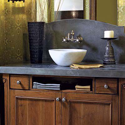 Half Bath With Vessel Sink And Brushed Nickel Faucet