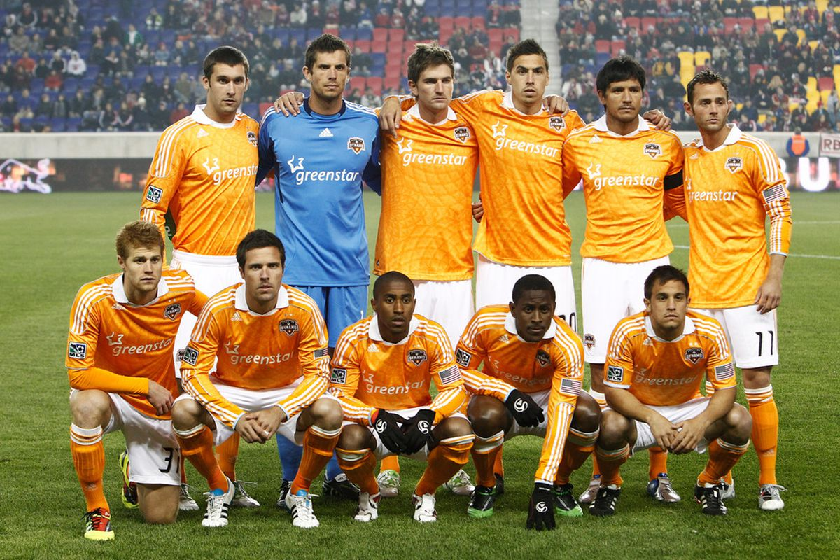 HARRISON, NJ - APRIL 02:  The Houston Dynamo pose for a team photo before playing the New York Red Bulls at Red Bull Arena on April 2, 2011 in Harrison, New Jersey.  (Photo by Jeff Zelevansky/Getty Images)