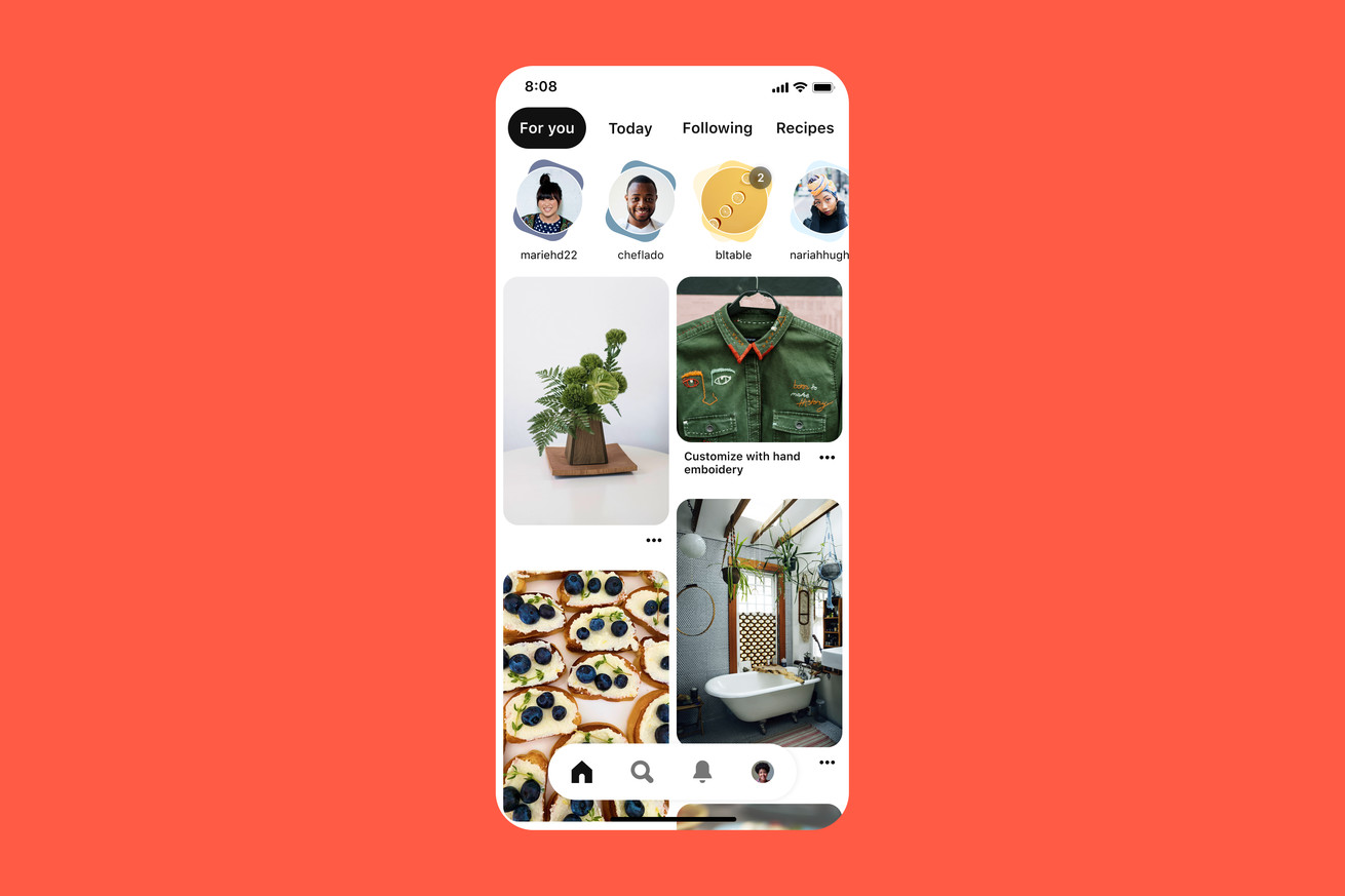 Pinterest is the latest app to add a carousel of stories to its home screen