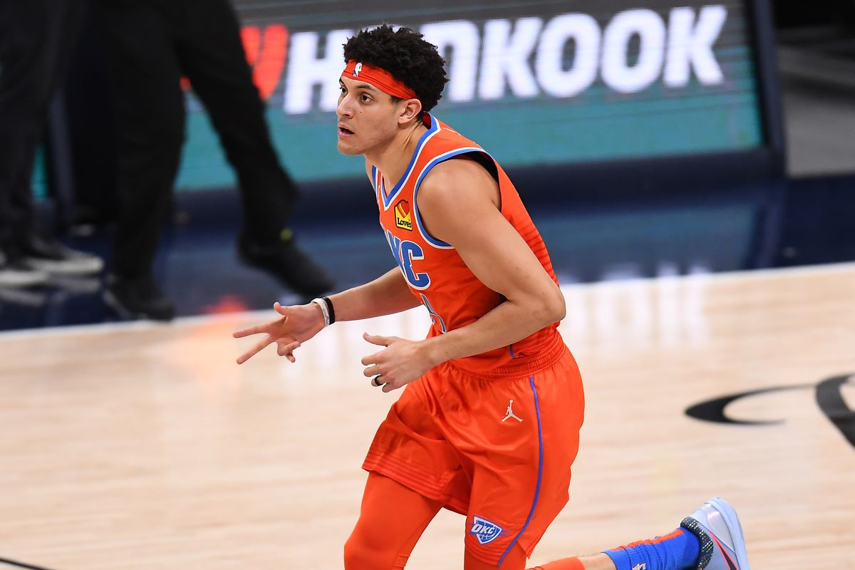 Oklahoma City Thunder forward Justin Jackson celebrates after a three point score against the Denver Nuggets in the second quarter at Ball Arena.