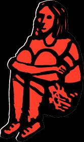Illustration of a girl sitting, hugging her knees.