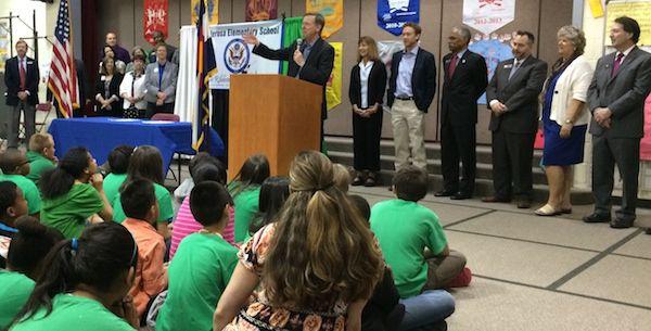 Gov. John Hickenlooper speaks to students at Ponderosa Elementary School.