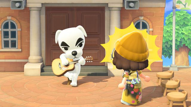 An Animal Crossing human looks, in shock, at a naked KK Slider