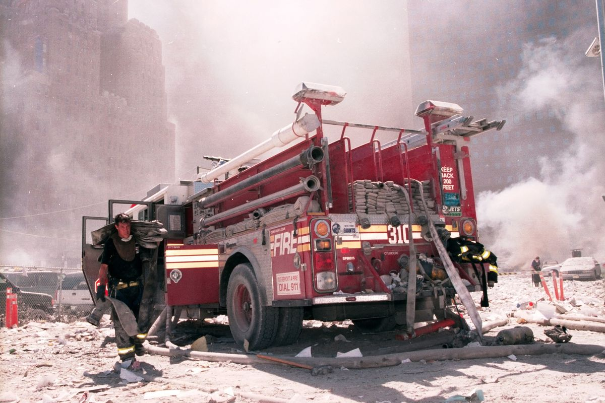 Engine 310 in the aftermath of the World Trade Center collapse on Sept 11th, 2001