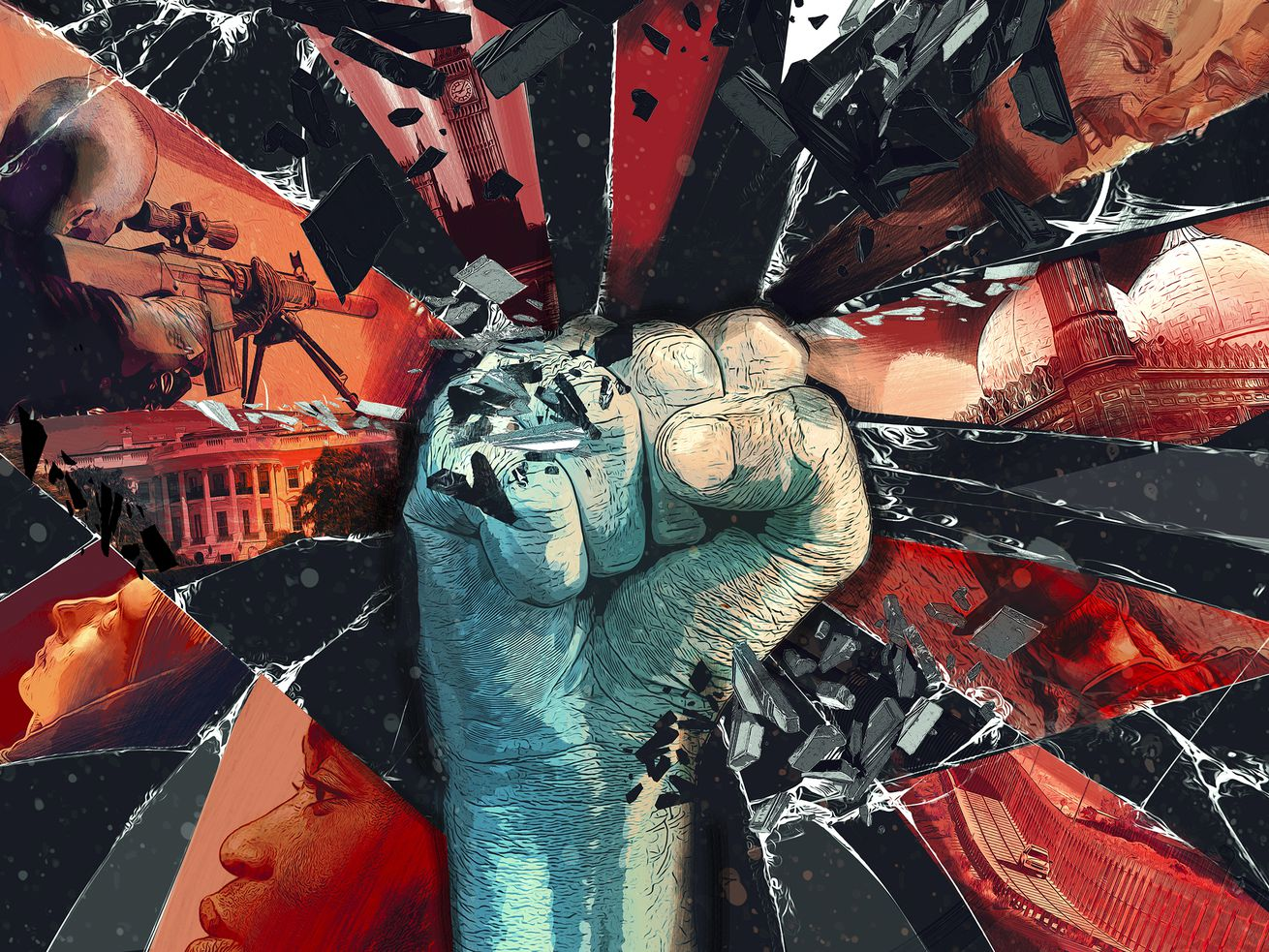 A fist shatters a tableau of imagery, including a mosque, a sniper, and the White House.