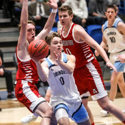 Westlake's Noah Madsen passes the ball during the 6A boys basketball state semifinals against American Fork at Salt Lake Community College in Salt Lake City on Thursday, March 4, 2021.