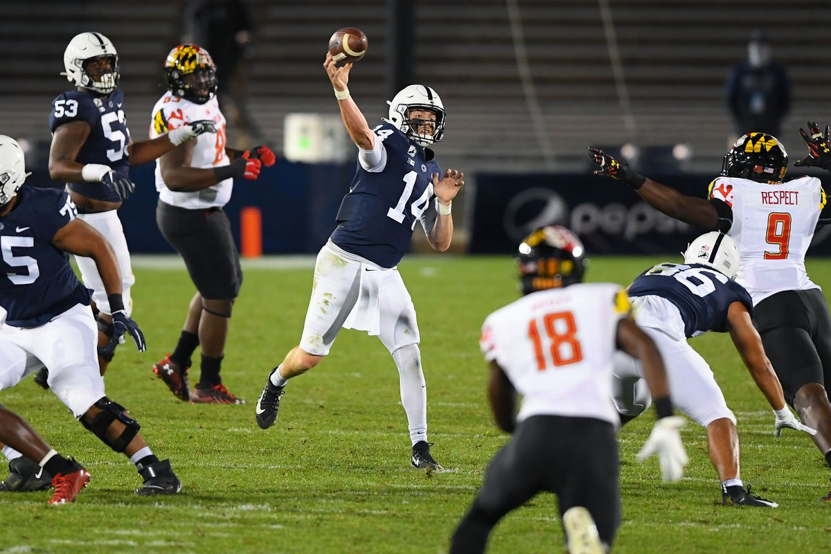 Penn State Nittany Lions quarterback Sean Clifford passes the ball against the Maryland Terrapins during the third quarter at Beaver Stadium.