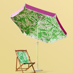 'Boom Boom' Patio umbrella, $100; cast iron umbrella base, $50; 'Boom Boom' teak beach chair, $60