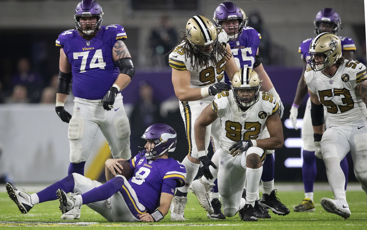 New Orleans Saints defensive end Marcus Davenport (92) celebrated his seven yard sack of Minnesota Vikings quarterback Kirk Cousins (8) in the forth quarter at U.S. Bank Stadium Sunday October 28, 2018 in Minneapolis, MN. ] Jerry Holt • Jerry.holt@s