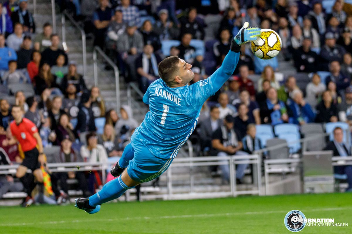 September 25, 2019 - Saint Paul, Minnesota, United States - Minnesota United goalkeeper Vito Mannone (1) makes a save during the first half against Sporting KC at Allianz Field.