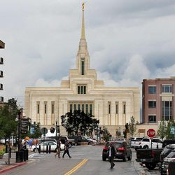 The Ogden Utah Temple and some nearby businesses in Ogden, Tuesday, July 29, 2014.